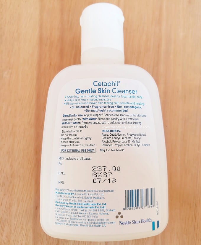 Cetaphil Gentle Skin Cleanser Ingredients