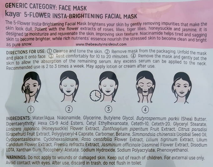 Kaya Skin Clinic Sheet Mask Ingredients