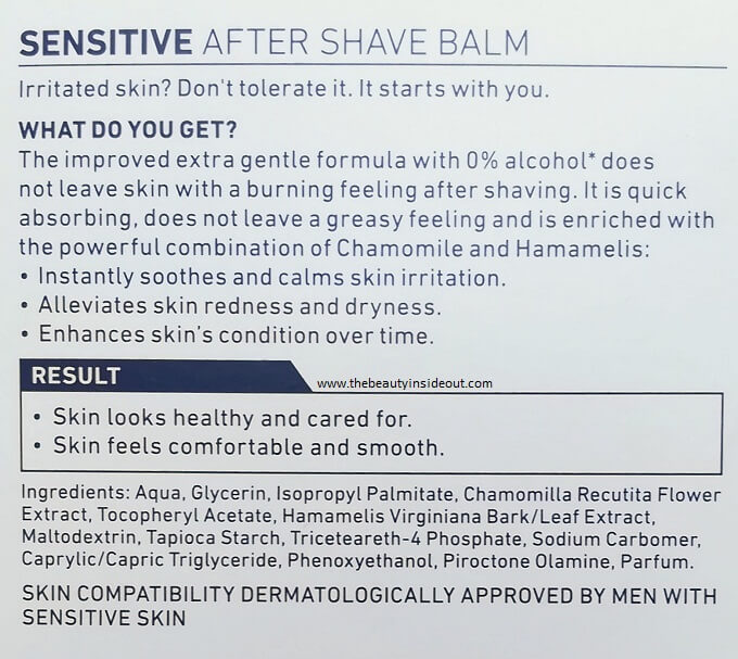 Nivea After Shave Balm Sensitive Ingredients