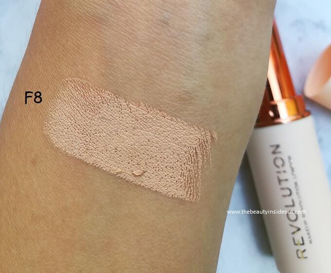 Makeup Revolution Fast Base Stick Foundation F8 Swatch