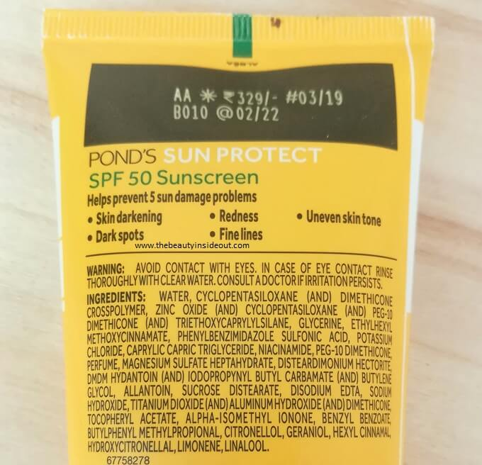 Ponds Non Oily Sunscreen SPF 50 Ingredients