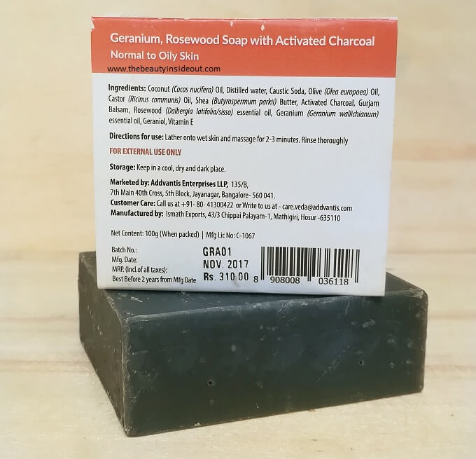 Vedaearth Charcoal Soap Ingredients