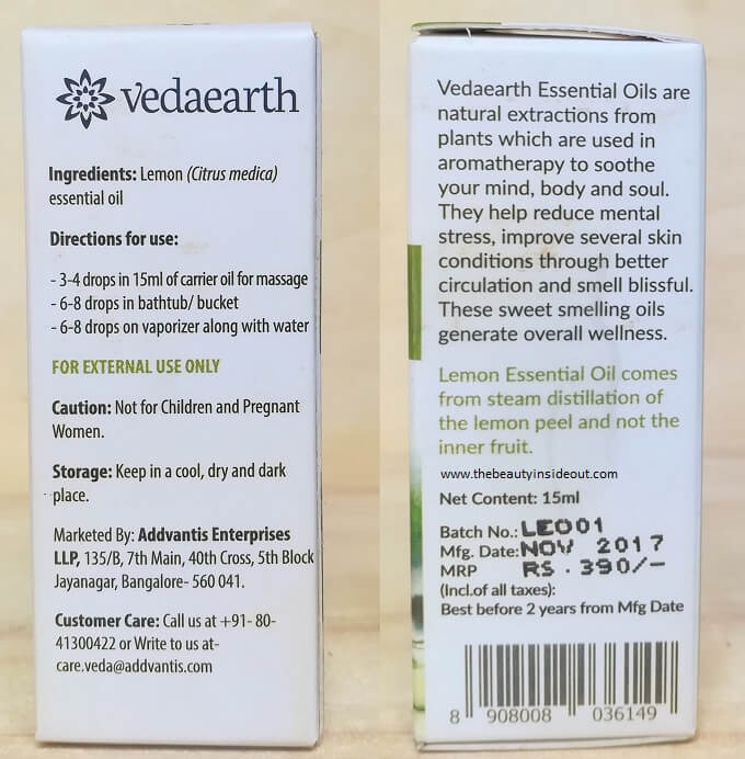 Vedaearth Lemon Essential Oil Ingredients