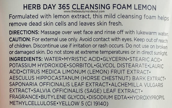 The Face Shop Herb Day 365 Cleansing Foam Lemon Ingredients