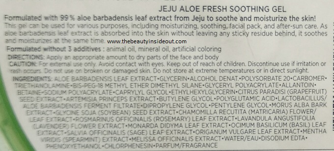 The Face Shop Jeju Aloe Fresh Soothing Gel Ingredients