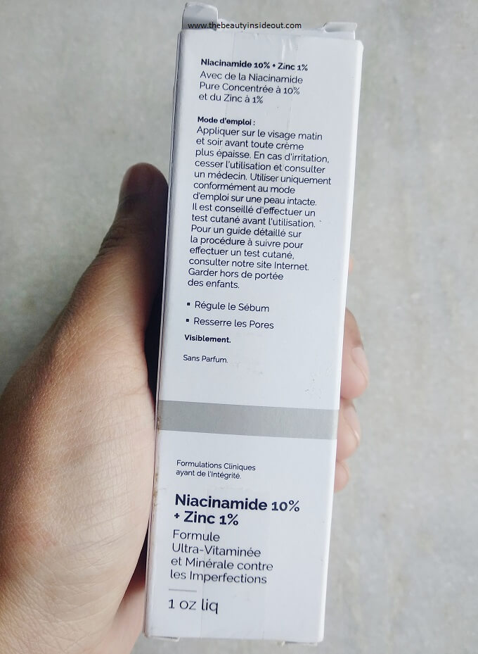 The Ordinary Niacinamide Serum Ingredients