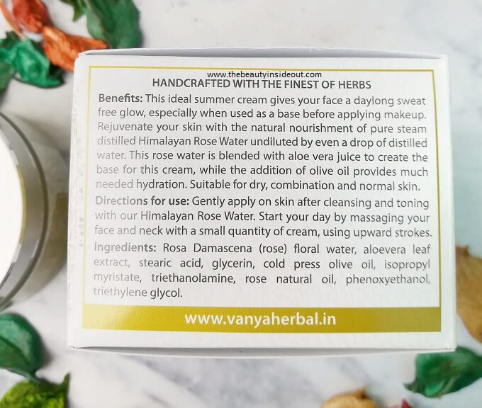Vanya Herbal Gulaabcare Face Cream Ingredients