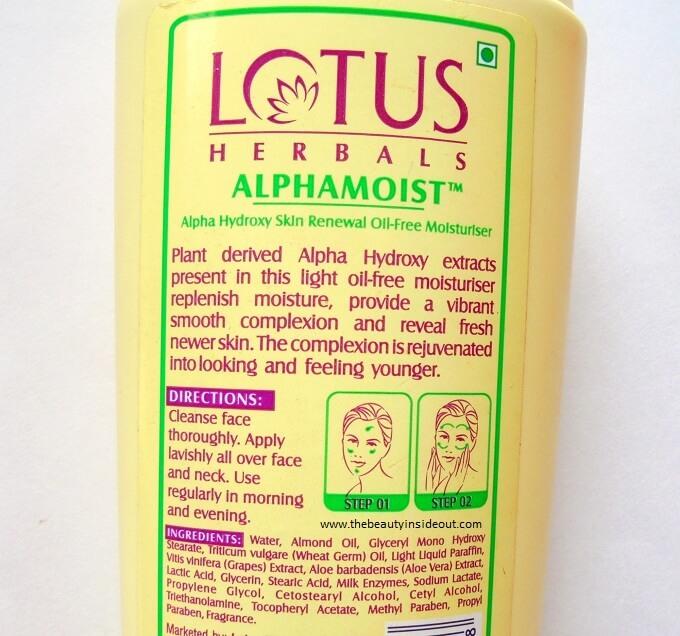 Lotus Herbals Alphamoist Oil Free Moisturizer Ingredients