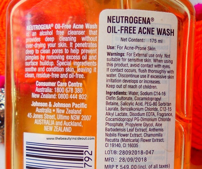 Neutrogena Oil Free Acne Wash Ingredients