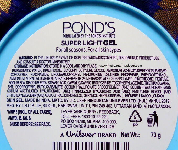 Ponds Super Light Gel Ingredients