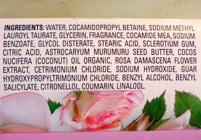 Love Beauty and Planet Murumuru Butter & Rose Aroma Body Wash Ingredients