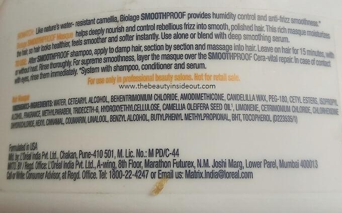 Matrix Hair Mask Ingredients