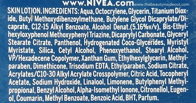 Nivea Sunscreen Ingredients SPF 50