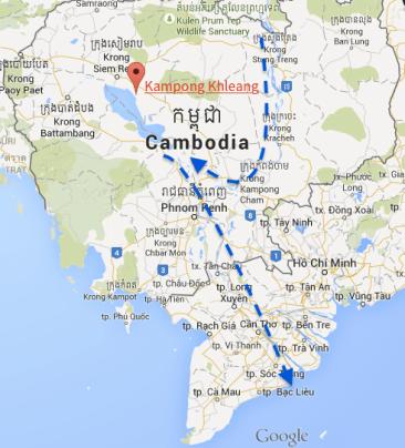 Carte montrant le village de Kampong Khleang et le lac Tonlé Sap au Cambodge.