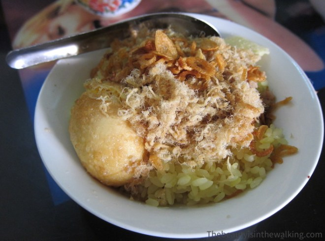 Rice, egg and dried fish