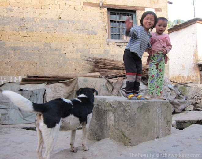 Girls playing in the village