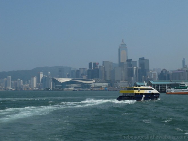 On the ferry, bay of Hong Kong