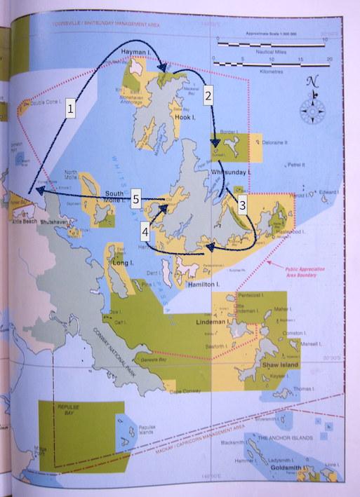 Itinéraire dans les Whitsunday Islands