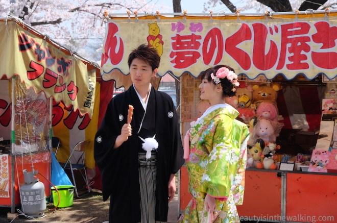Young couple in kimono, Gappo park, Aomori