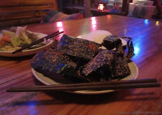 Algues frites, spécialité laotienne - Muang Ngoi