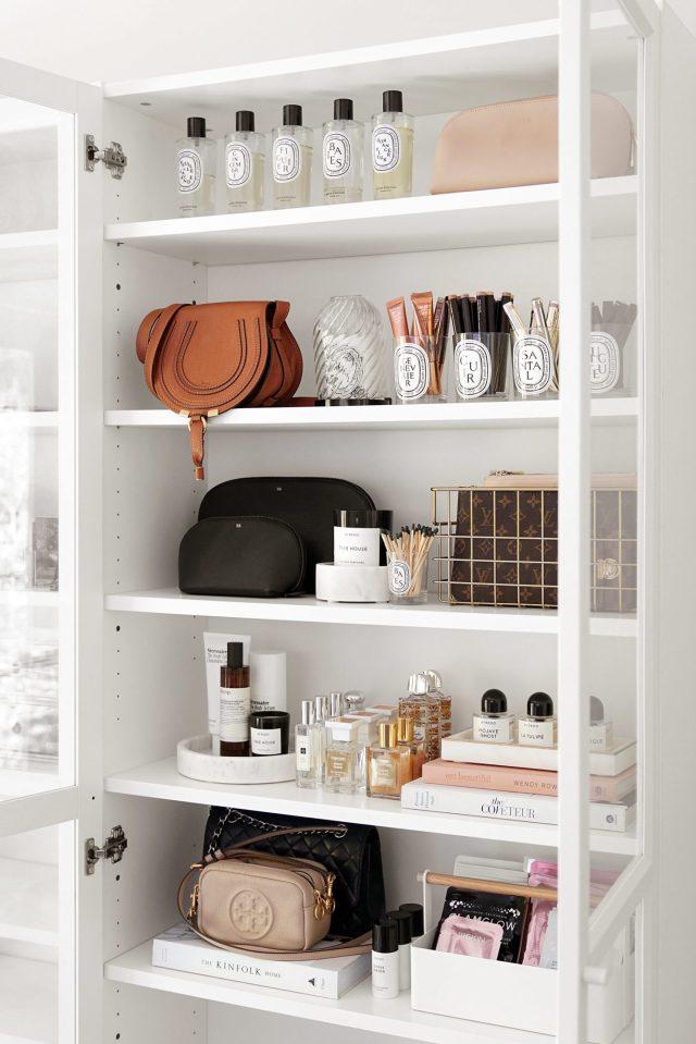 Beautylookbook Shelf Home Organization Ikea Billy 1440x2159 - Best Decorative Trays for Your Vanity + Beauty Products