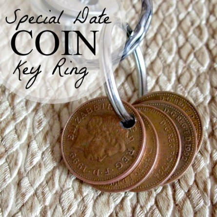 special date coin key ring