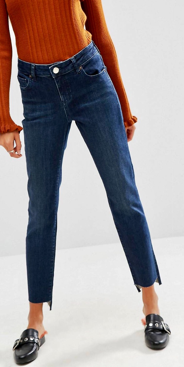 model wearing asos straight leg jeans
