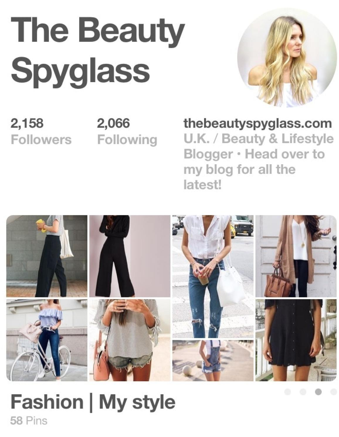 Image shows a snapshot of my Pinterest page.