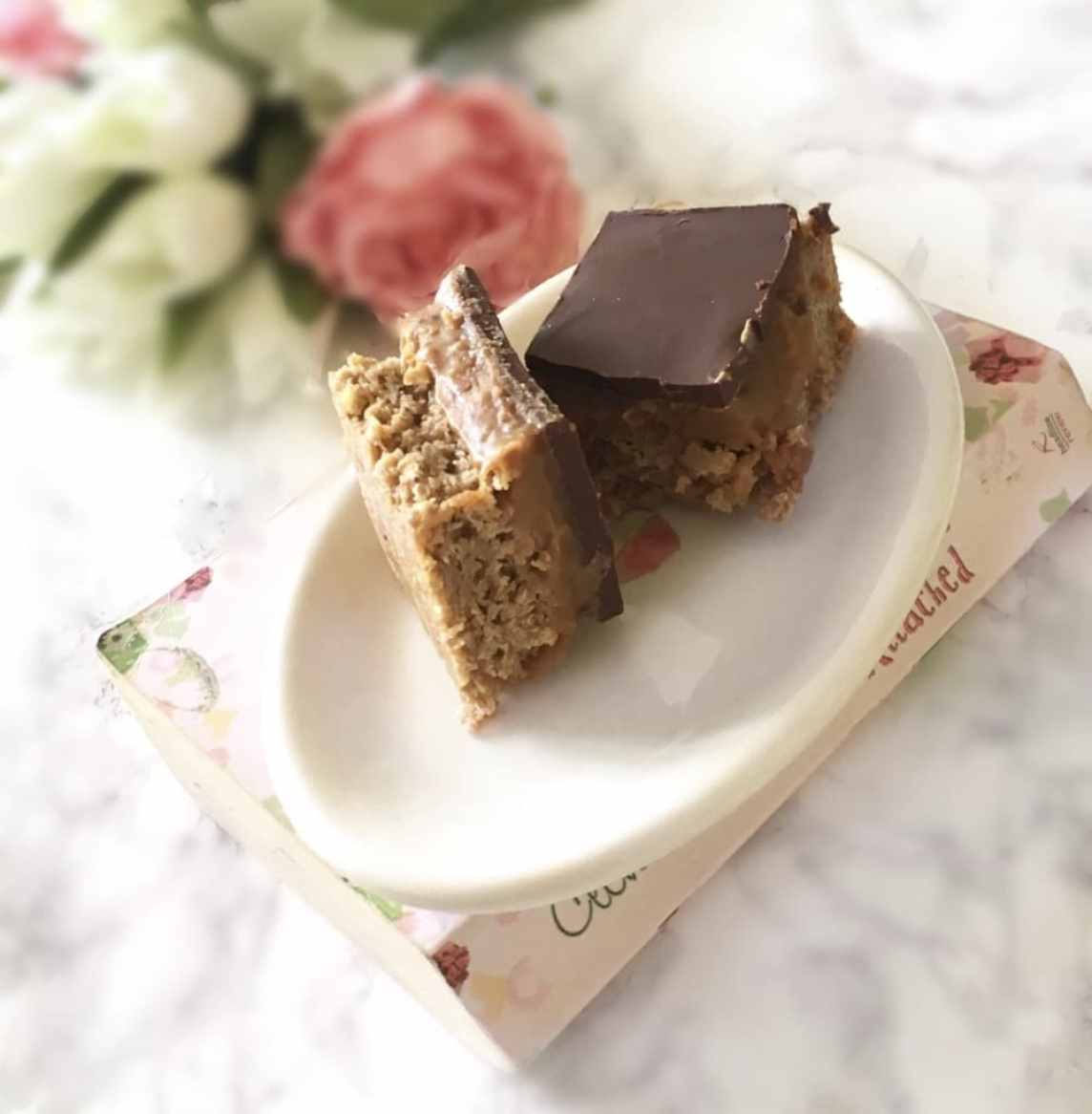 image shows the finished Millionaire Flapjacks on a plate.