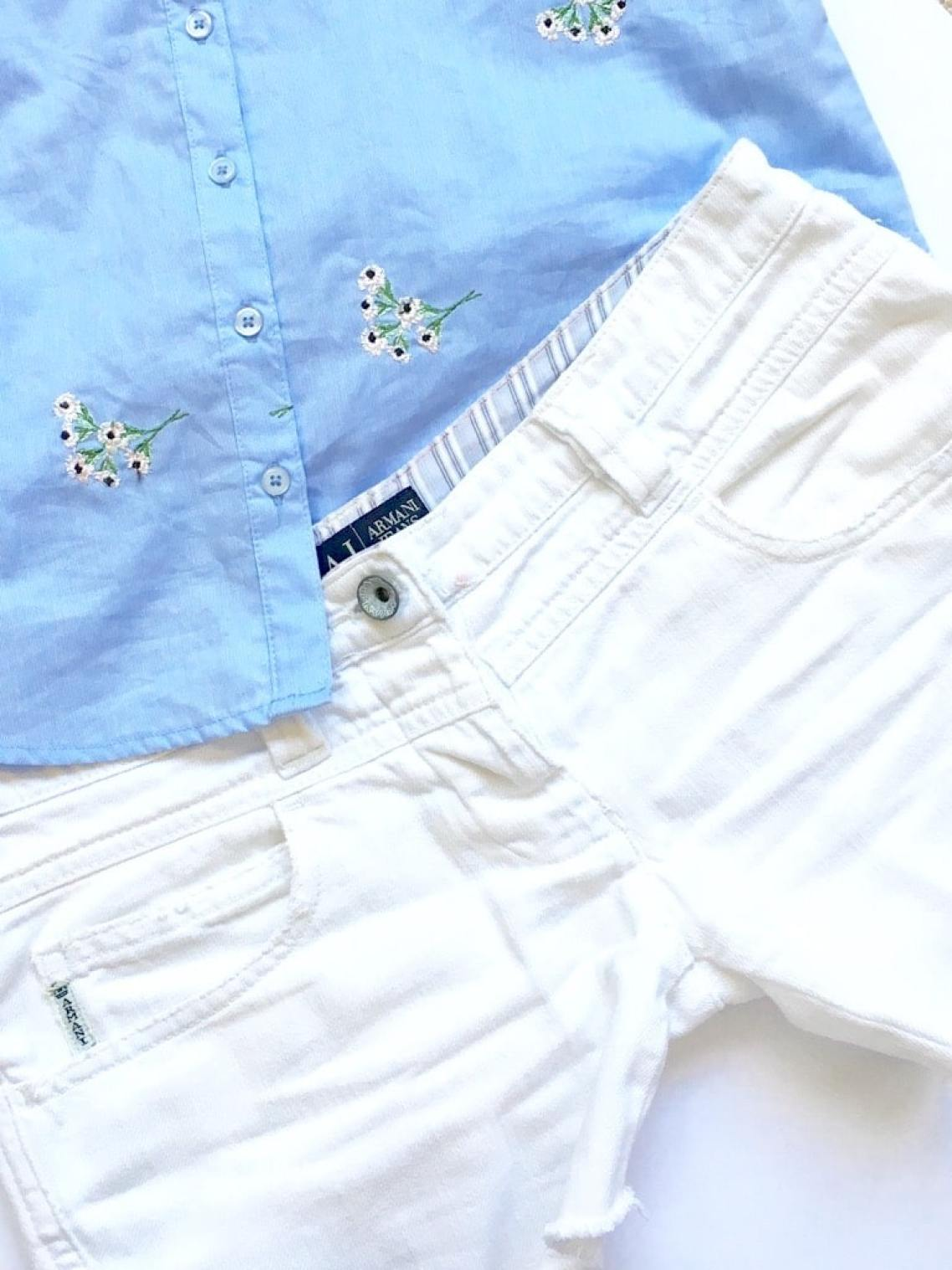 The white edit. Armani shorts