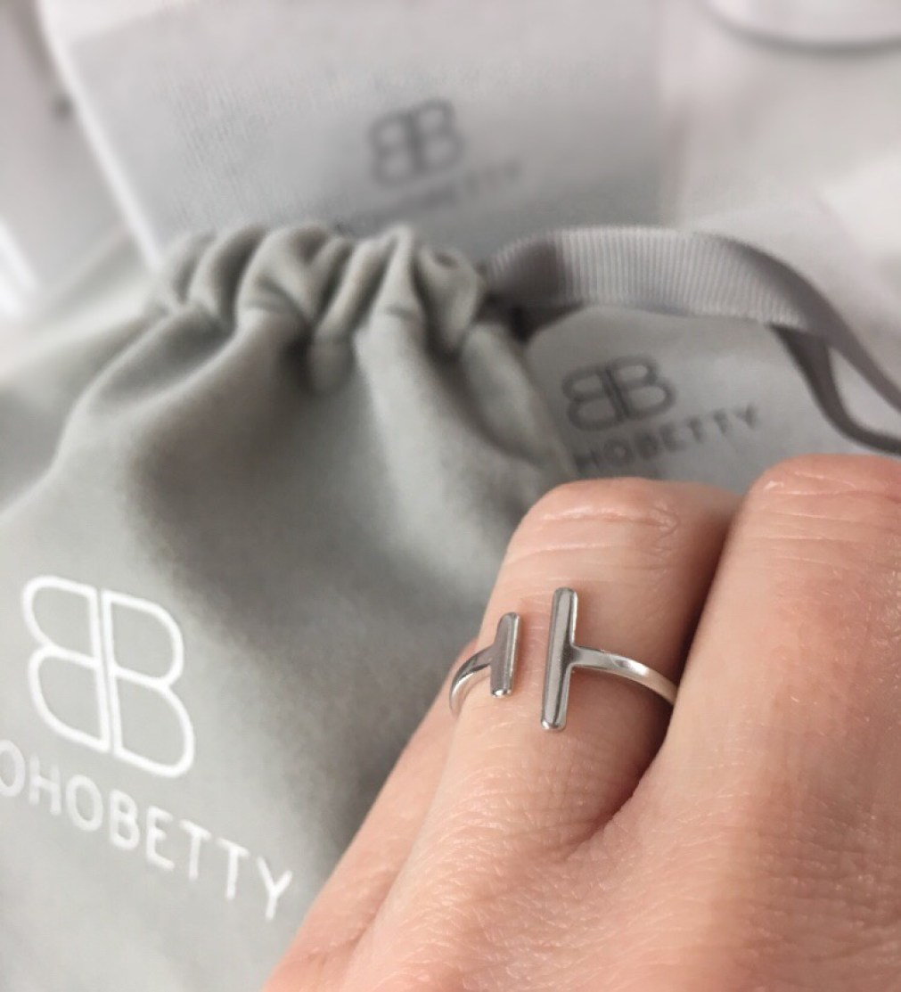 Boho Betty minimal sterling silver Delevigne adjustable ring