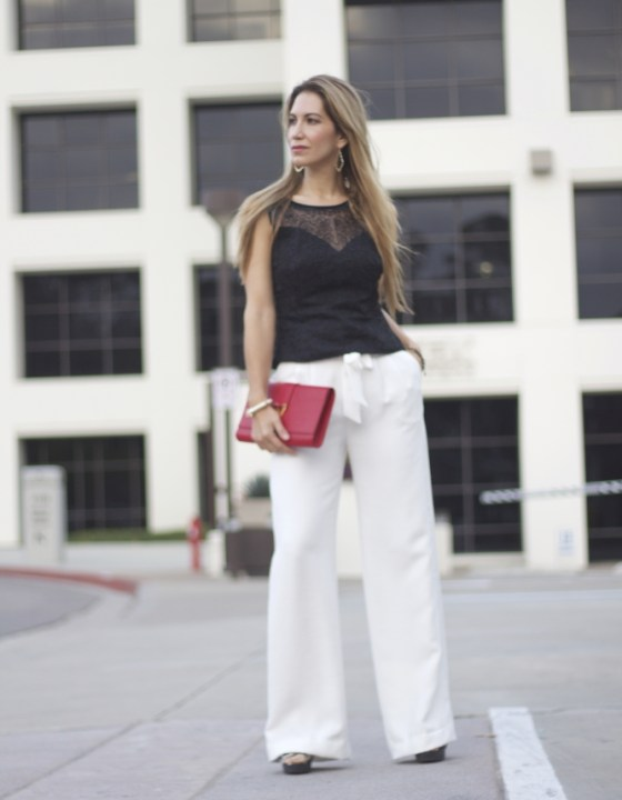 WIDE-LEG TROUSERS + LACE