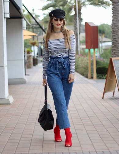 how to wear paperbag jeans