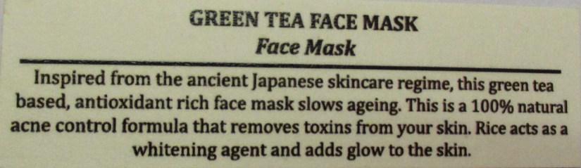 Skin Yoga Green Tea Face Mask Description