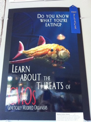 The first time I went into this pizza joint this was on the wall. You guys know how I feel about fear mongering right? (and you know this corn/fish is not a real thing, right?)