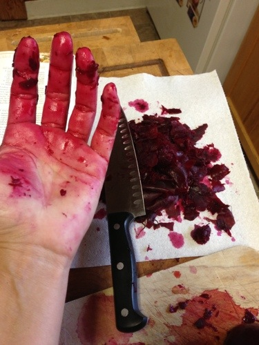 Beets remind me of breaking down a carcass. They are so messy and red!