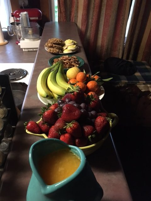 "Fresh squeezed oj, fresh fruit, cookies and casserole is a typical ""big work breakfast"" here."
