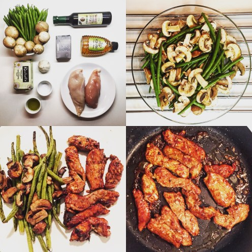 Balsamic Chicken with Honey Sauce and Roasted Green Beans with Mushrooms - The Beginner Cookbook Recipe