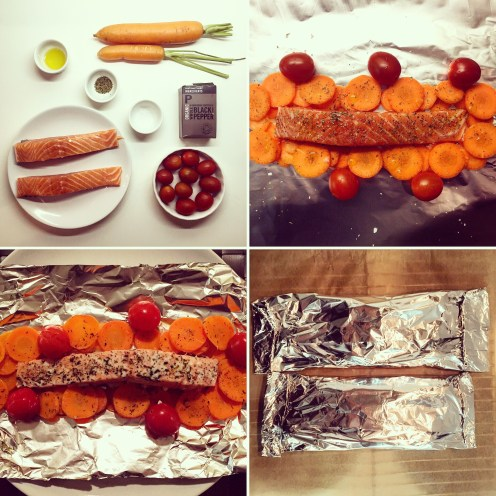 Salmon Baked in Foil with Vegetables - The Beginner's Cookbook Recipe