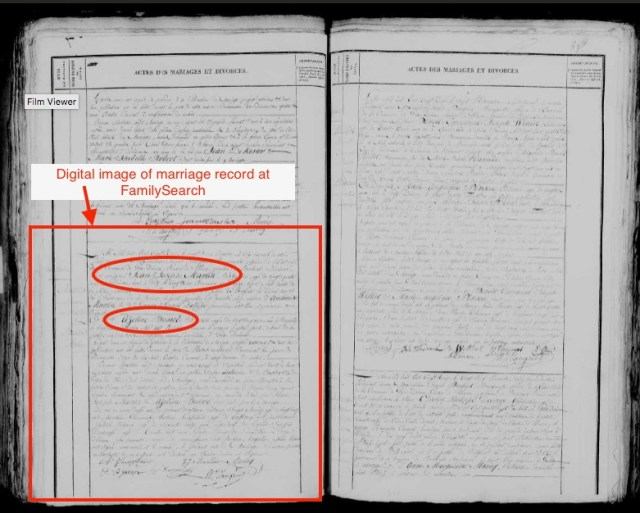 Digital image of Martin-Bossel marriage record at FamilySearch.