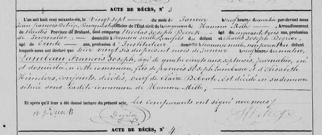 Death record for François Joseph Lambeau