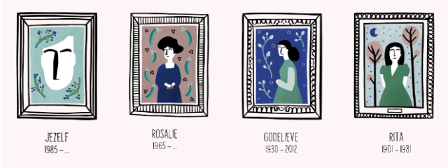 Image with four stylized portraits of mothers: youself (born 1985), Rosalia (born 1965), Godelieve (1930-2012), and Rita (1901-1981)>