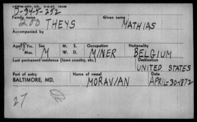 Image of an index card with information about Mathias Theys. It lists his name, age, gender, occupation, nationality, port of entry, name of vessel, and date of arrival.