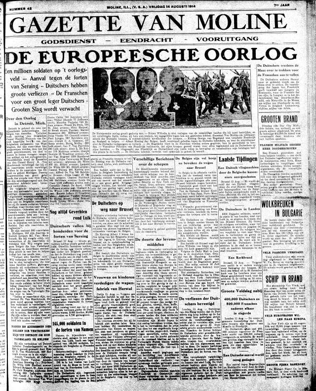 """Image of the first page of the Gazette on August 1, 1914. The headline reads """"De Europeesche Oorlog,"""" and an illustration features the main players the war: King Albert, President Poincaré, King George, General Van Moltke, The German Infacntry, and the British Fleet."""