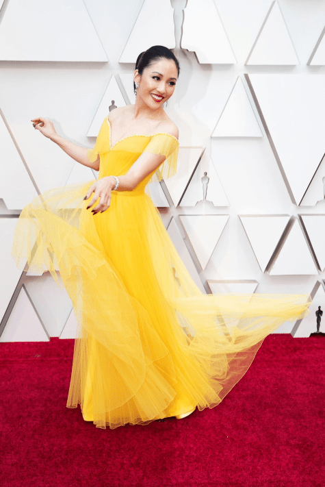 Constance wu in yellow dress for the Oscars 2019 red carpet