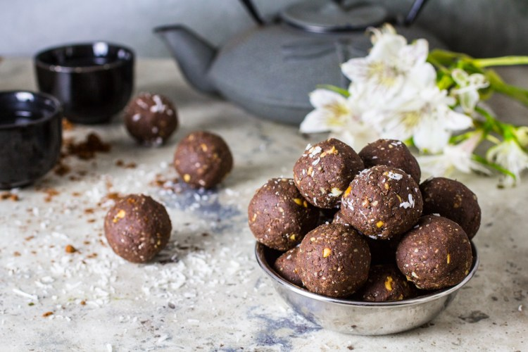 Chocolate Peanut Butter Energy Balls. Recipe and Food Photography by Shika Finnemore