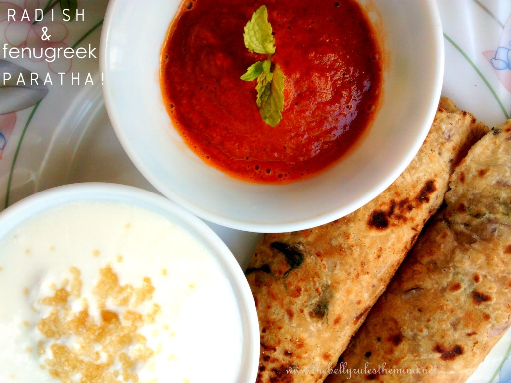 Radish & Fenugreek Amaranth Parathas with A Spicy Tomato & Carom (Ajwain) Chutney.