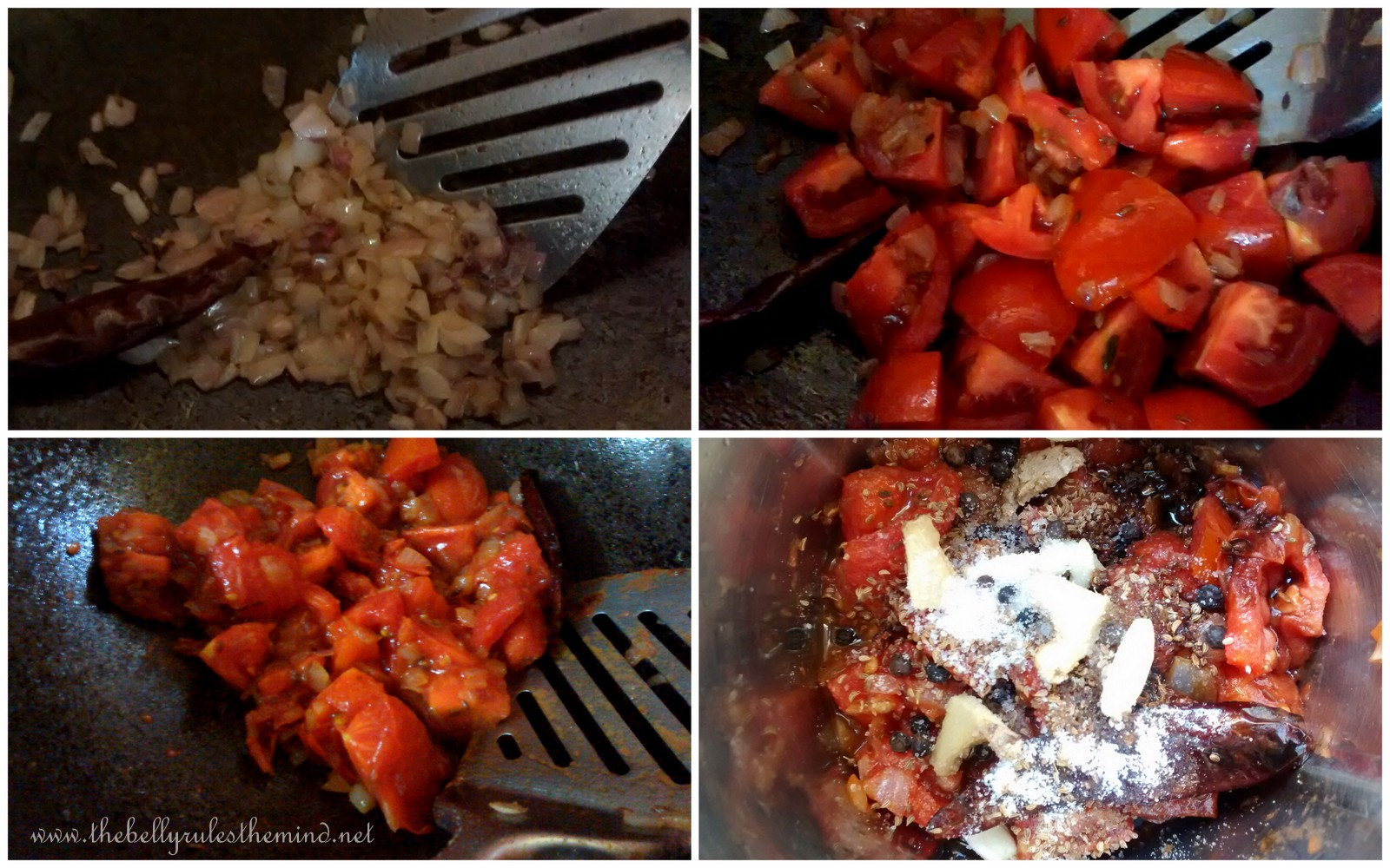 Tomato sauteed with Onions and Red chilli.