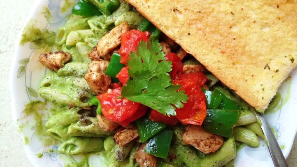 Penne Al Dente in an Avocado Parley Pesto dressing