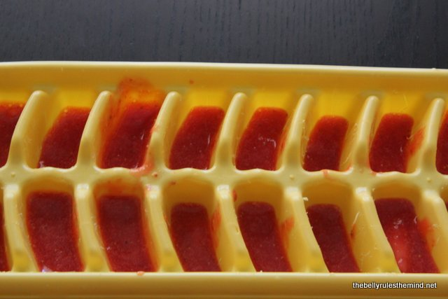 Strawberry pulp in ice tray